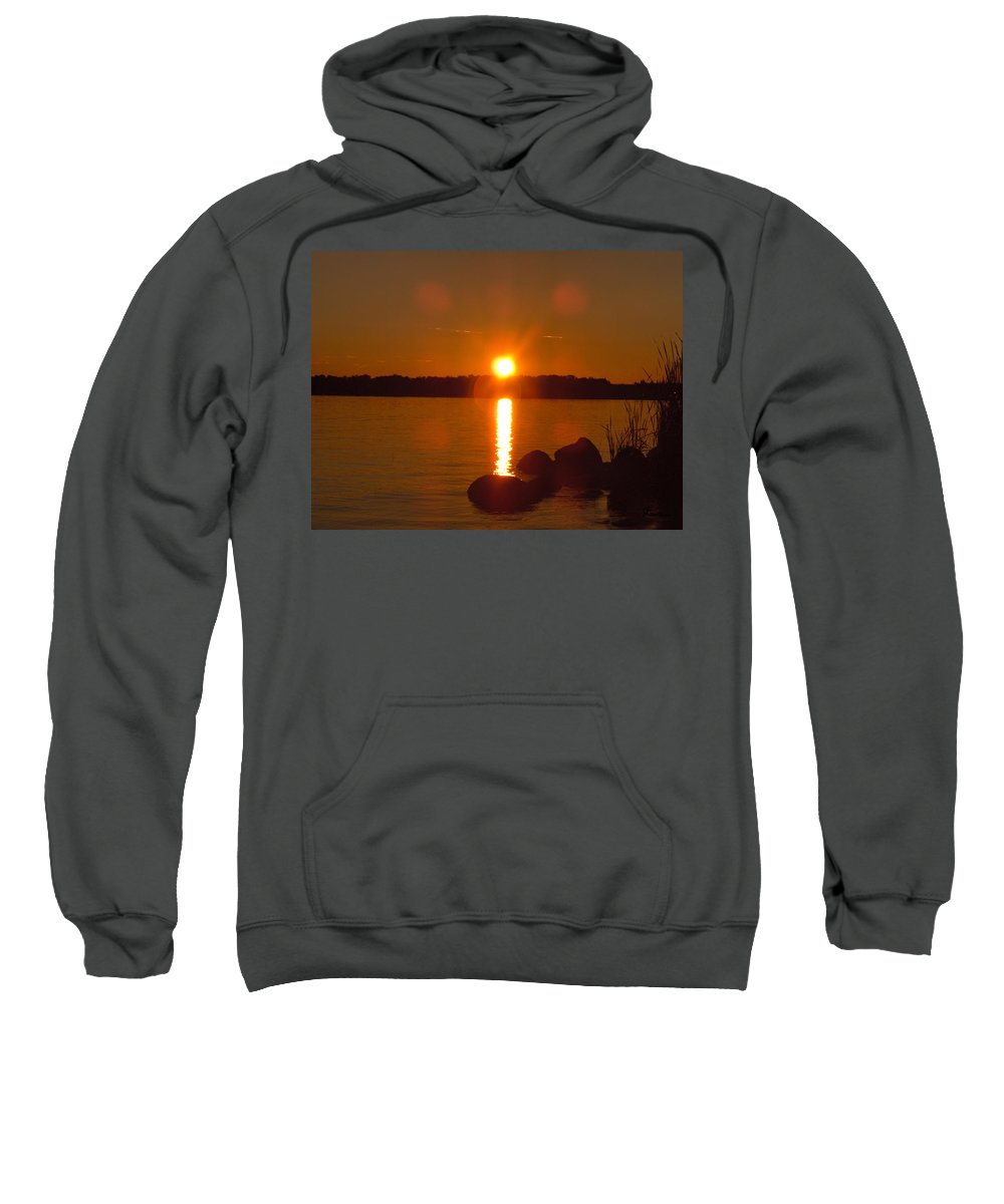 Beach Lake Rock Reeds Water Sky Sweatshirt featuring the photograph Just Rock by Andrea Lawrence