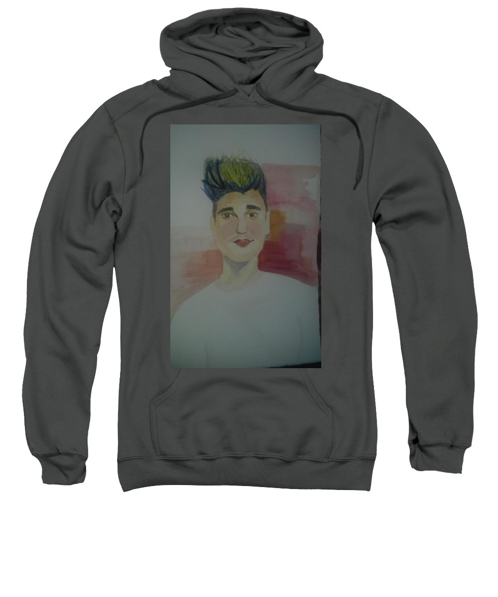 Pop Art Sweatshirt featuring the painting Justin Bieber by Anna Pezhman