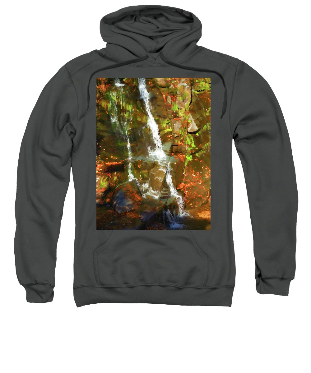 Adventure Sweatshirt featuring the painting Lazy Flow by Jeelan Clark