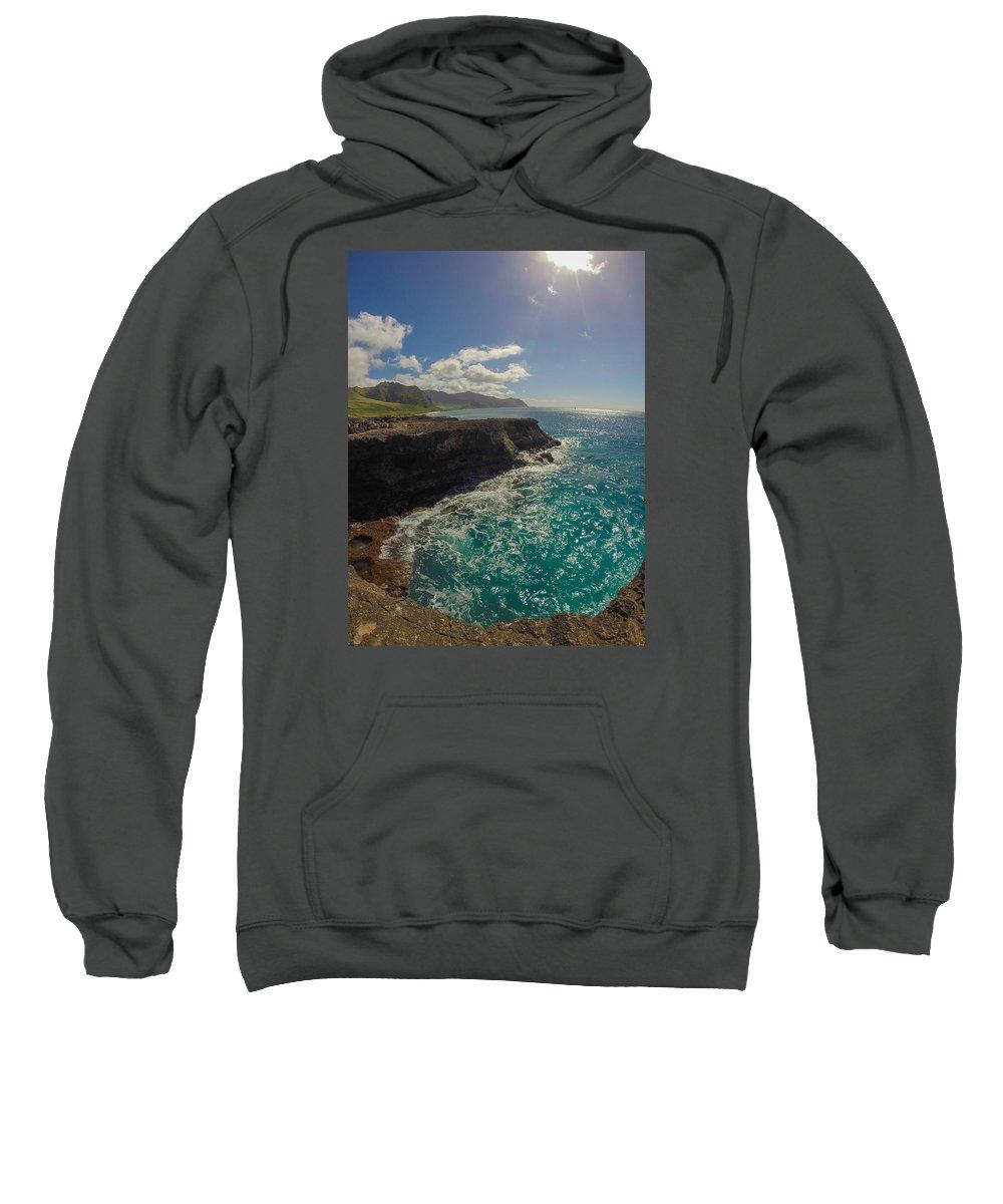 Kaena Sweatshirt featuring the photograph Kaena Pool by Megan Martens