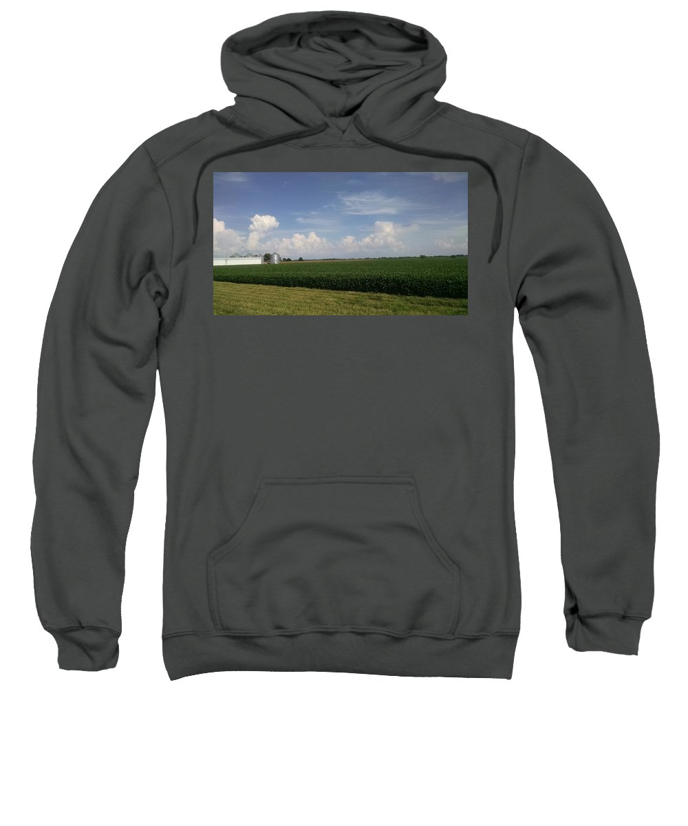 Sweatshirt featuring the digital art Kansas Skies by Rachel Parker-Healy