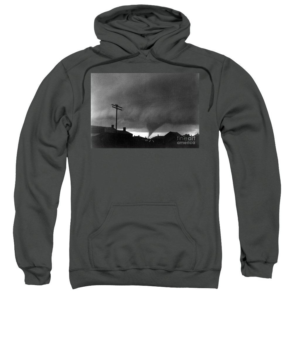 1902 Sweatshirt featuring the photograph Kansas: Tornado, C1902 by Granger