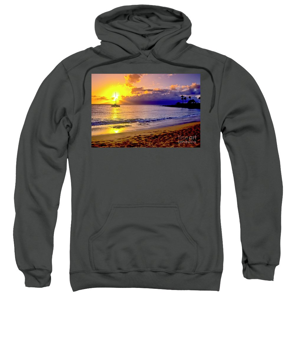 Scenics Sweatshirt featuring the photograph Kapalua Bay Sunset by Jim Cazel