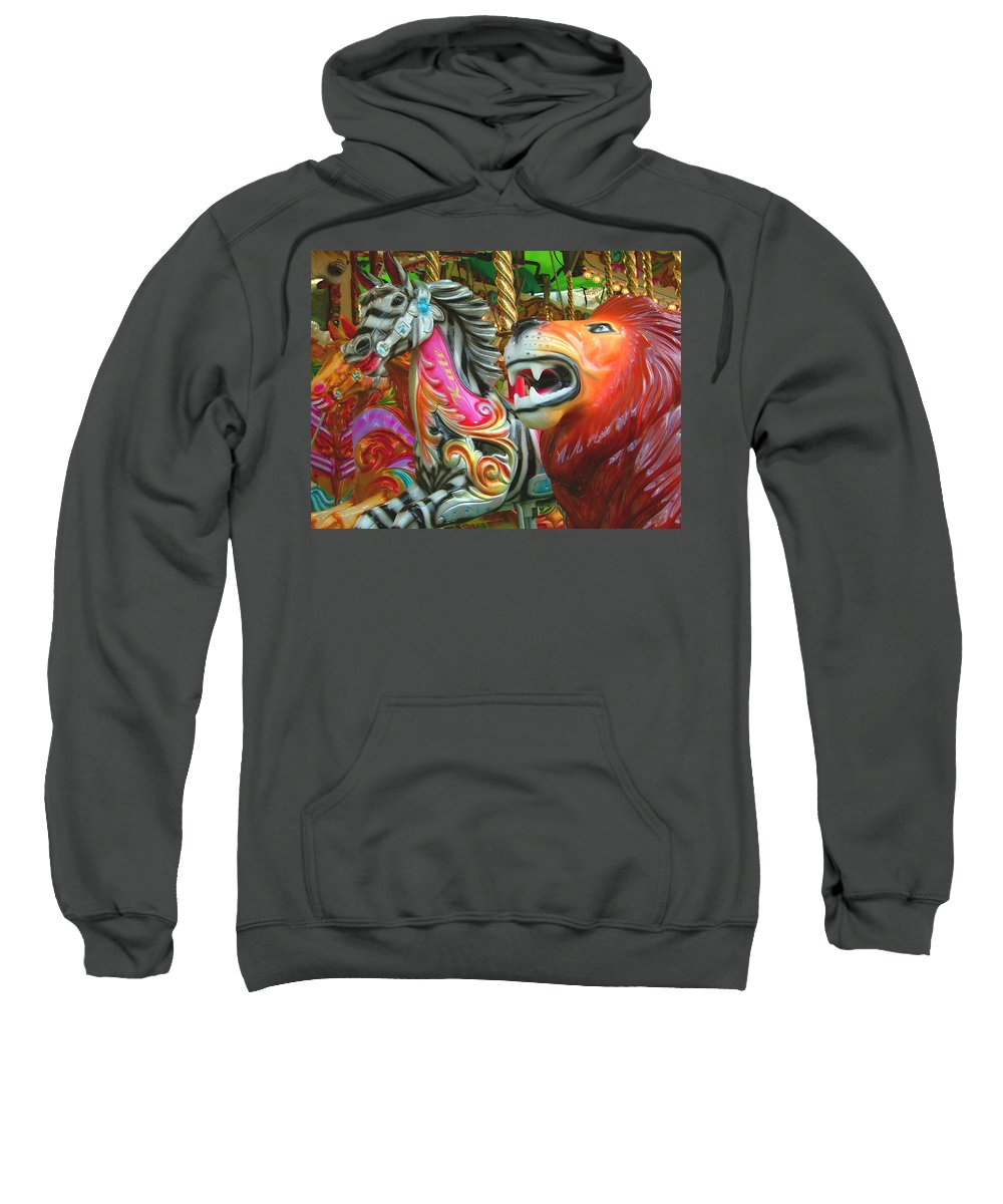 Zebra Sweatshirt featuring the photograph Kate The Zebra And Lion Carousel by Heather Lennox