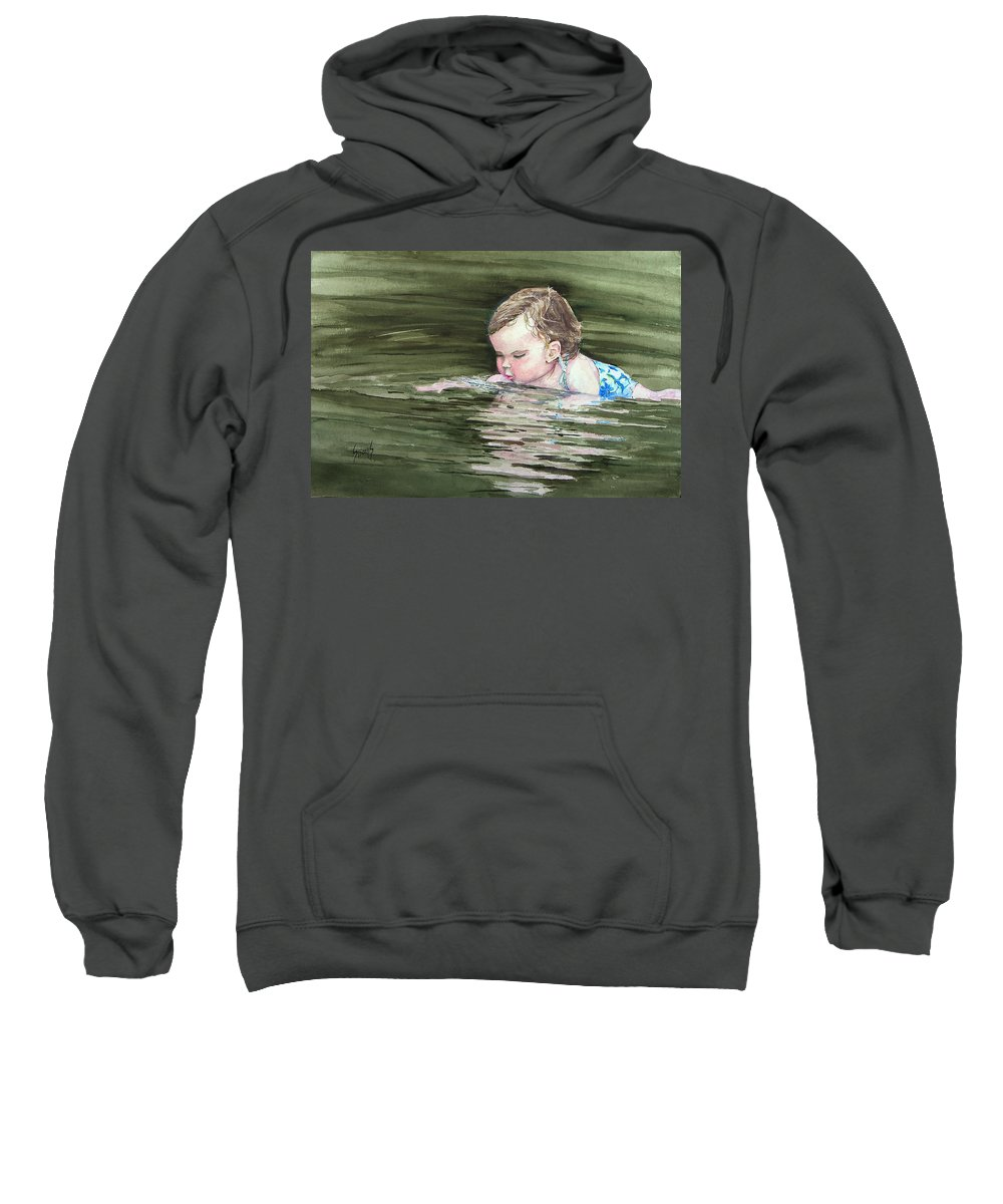 Child In River Sweatshirt featuring the painting Katie Wants A River Rock by Sam Sidders