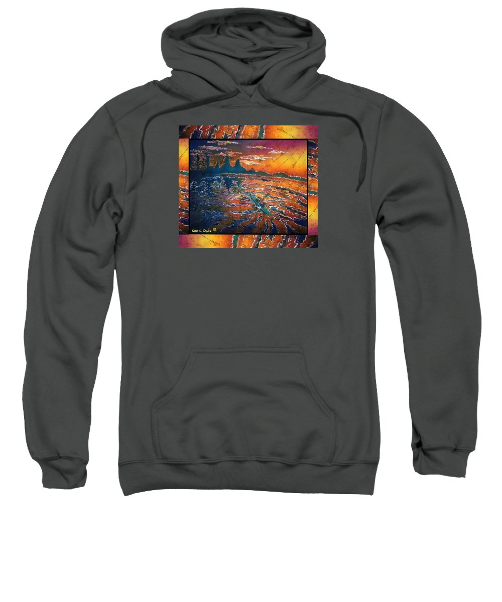 Kayak Sweatshirt featuring the painting Kayaking Serenity - Bordered by Sue Duda