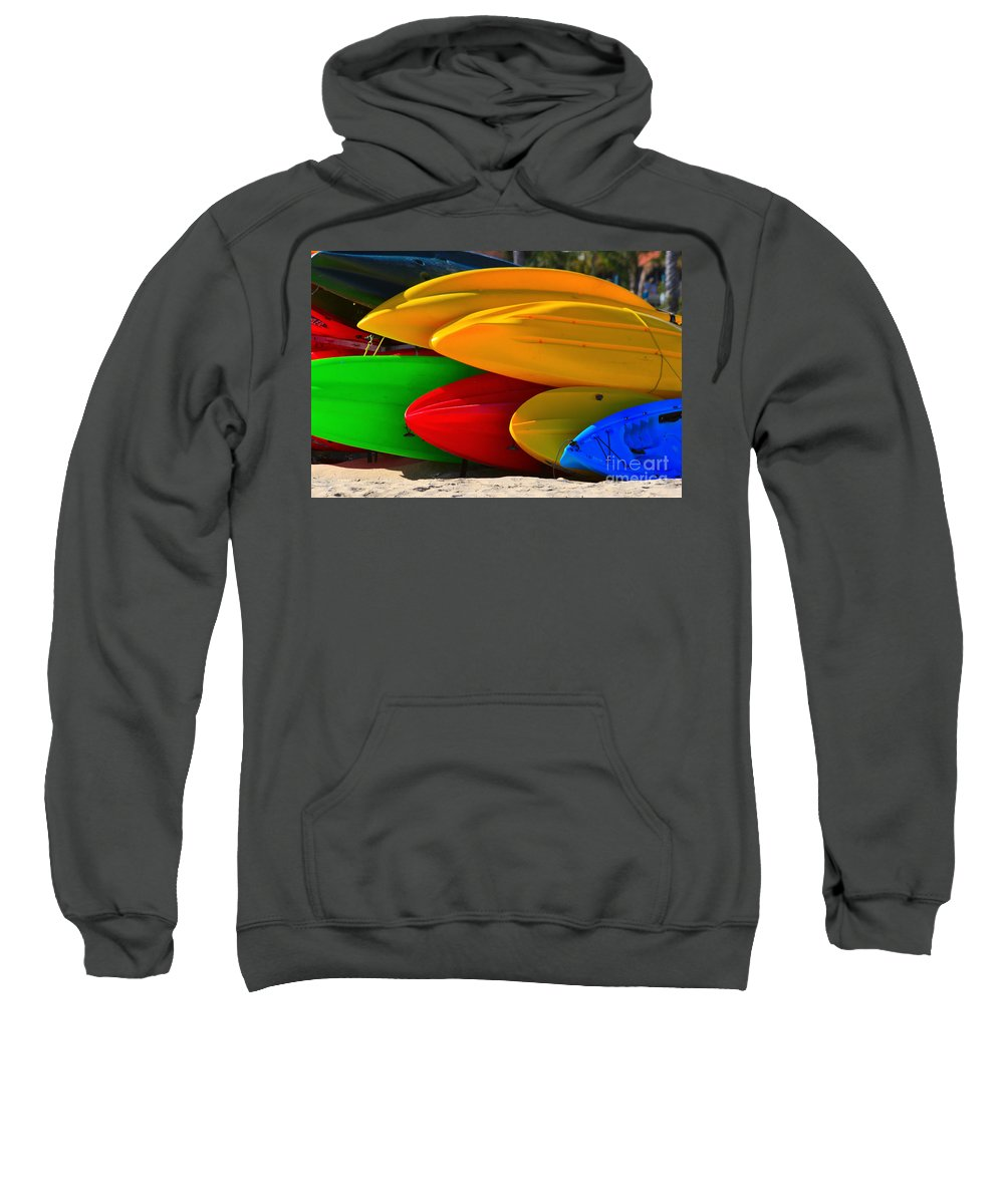 Kayaks Sweatshirt featuring the photograph Kayaks On The Beach by James BO Insogna