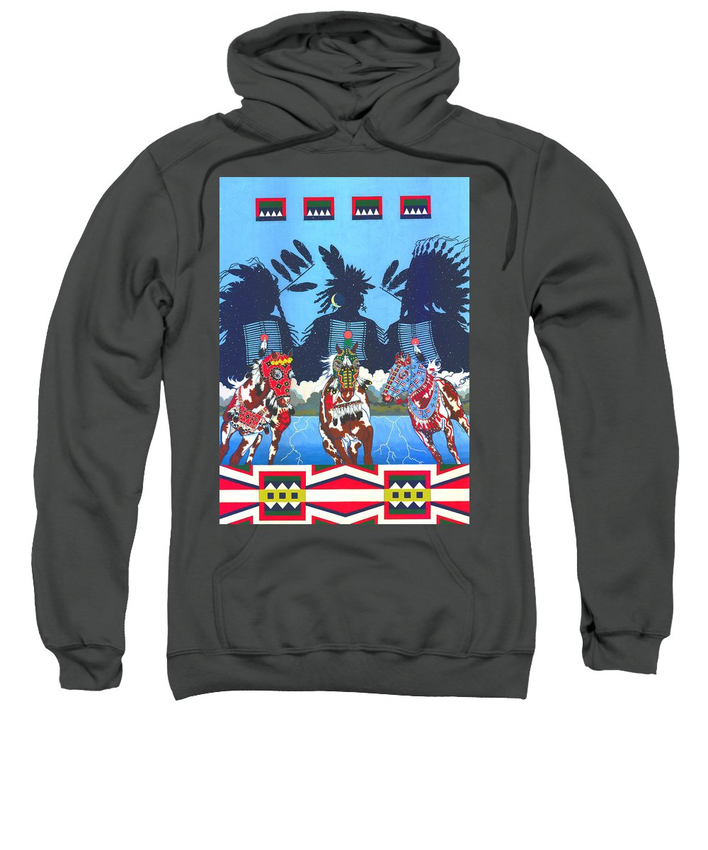 America Sweatshirt featuring the painting Keepers Of The Law by Chholing Taha