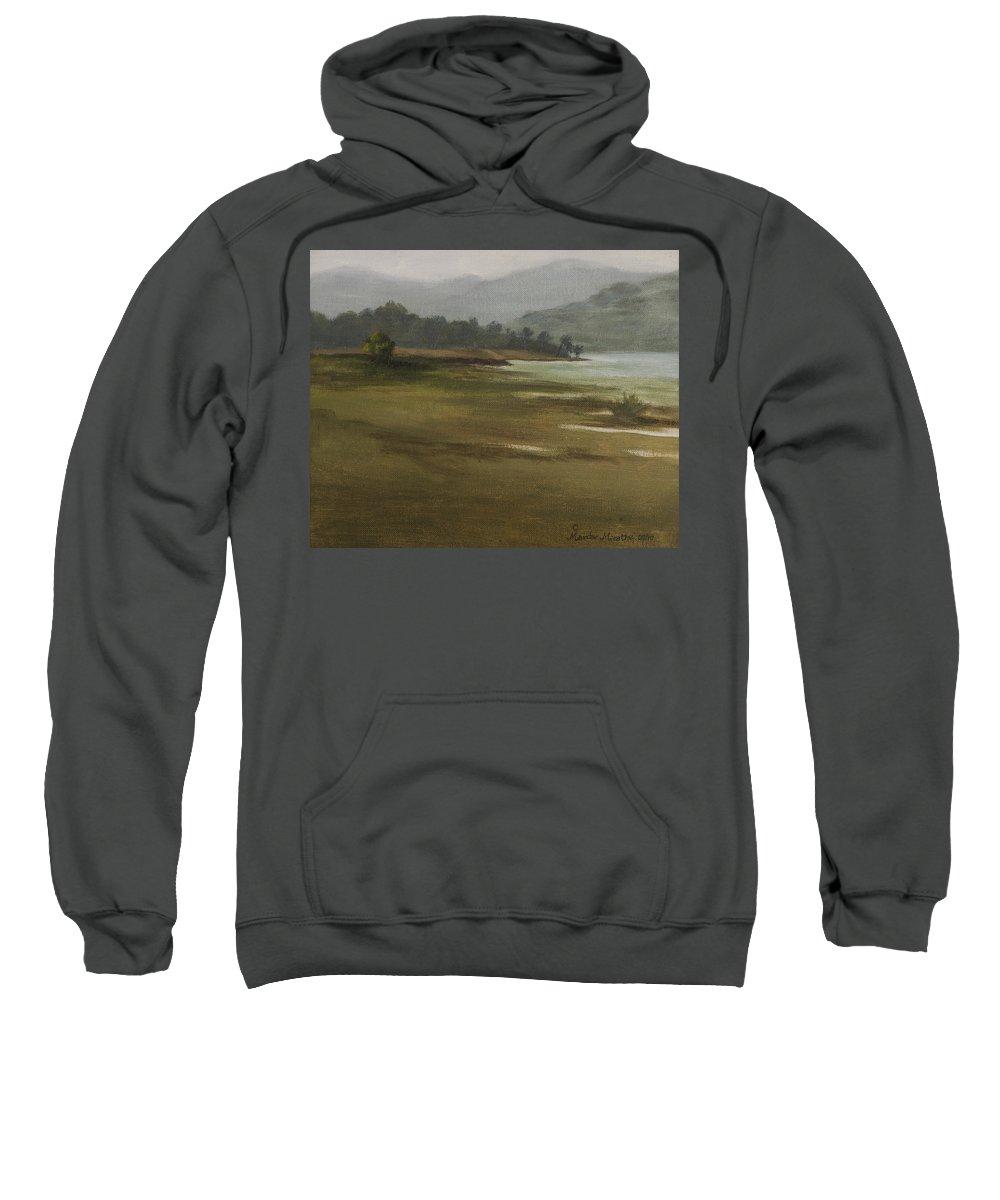 Landscape Sweatshirt featuring the painting Khandakwasla Haze by Mandar Marathe