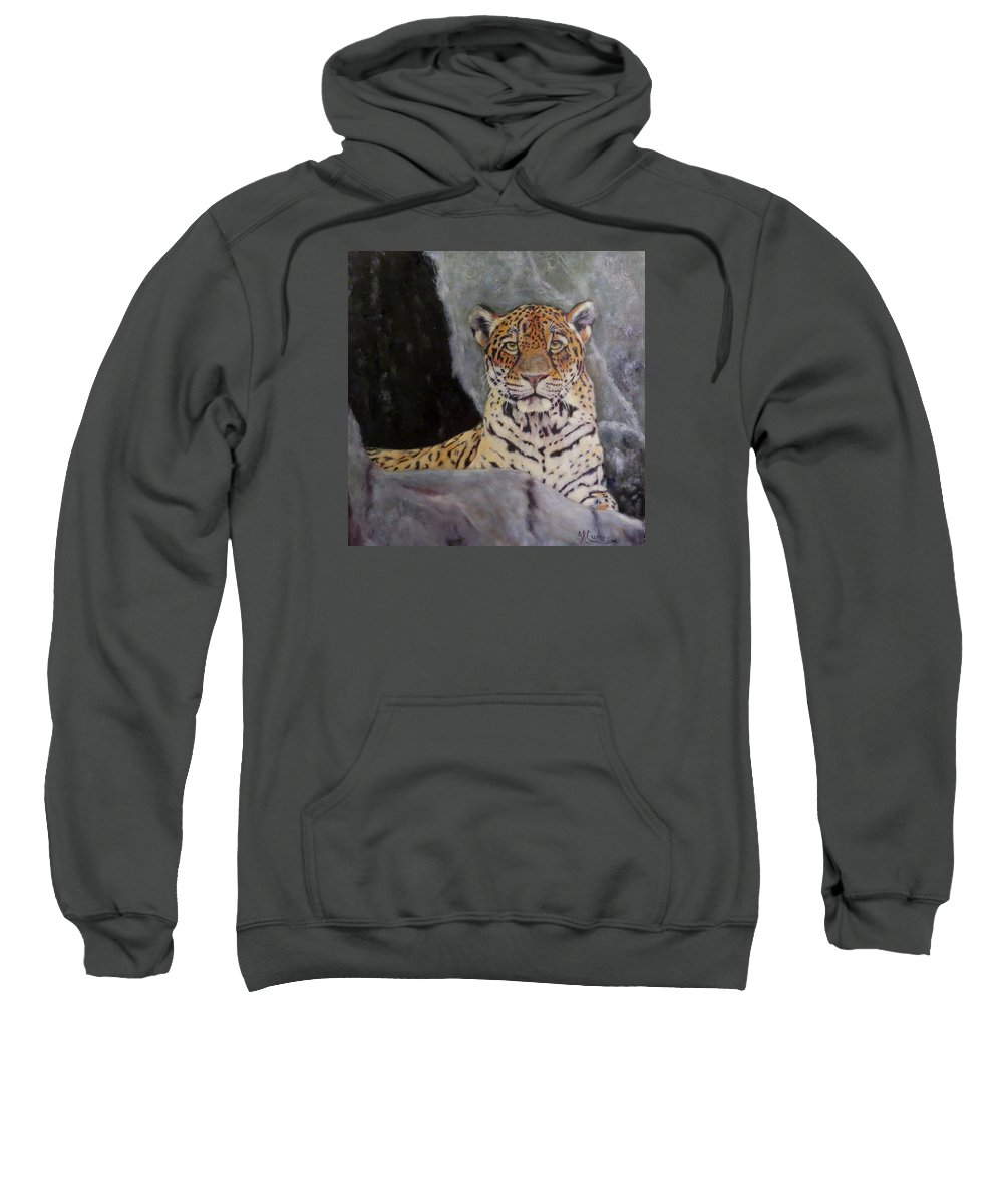 Jaguar Sweatshirt featuring the painting Khensu, Jaguar by Sandra Reeves