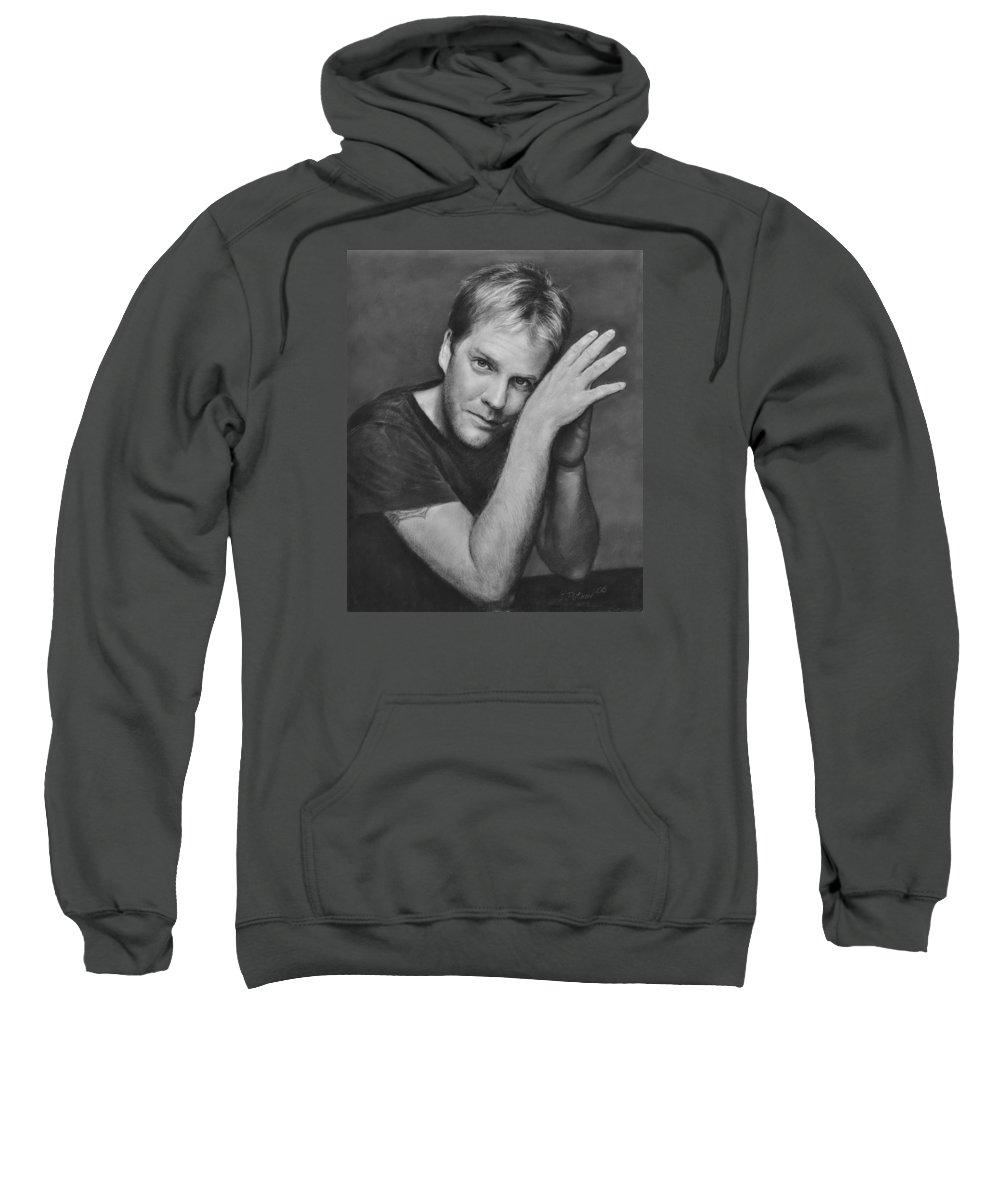 Portraits Sweatshirt featuring the drawing Kiefer Sutherland by Iliyan Bozhanov