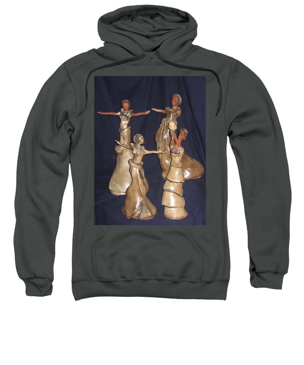 Jesus Sweatshirt featuring the sculpture Kiganda Dance Troupe by Gloria Ssali