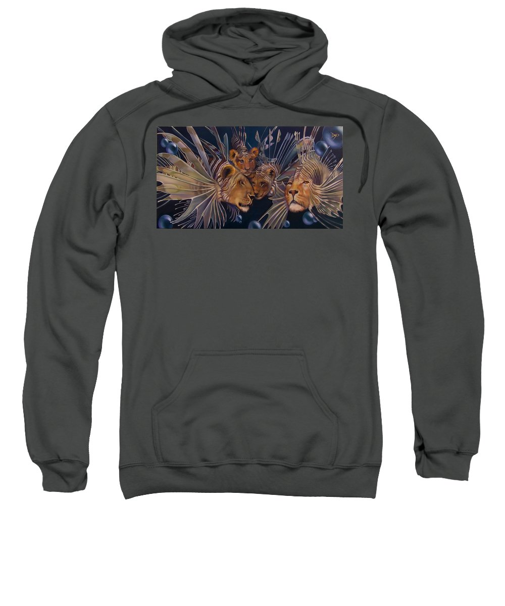 Lion Sweatshirt featuring the painting Kindred Lionfish by Patrick Anthony Pierson