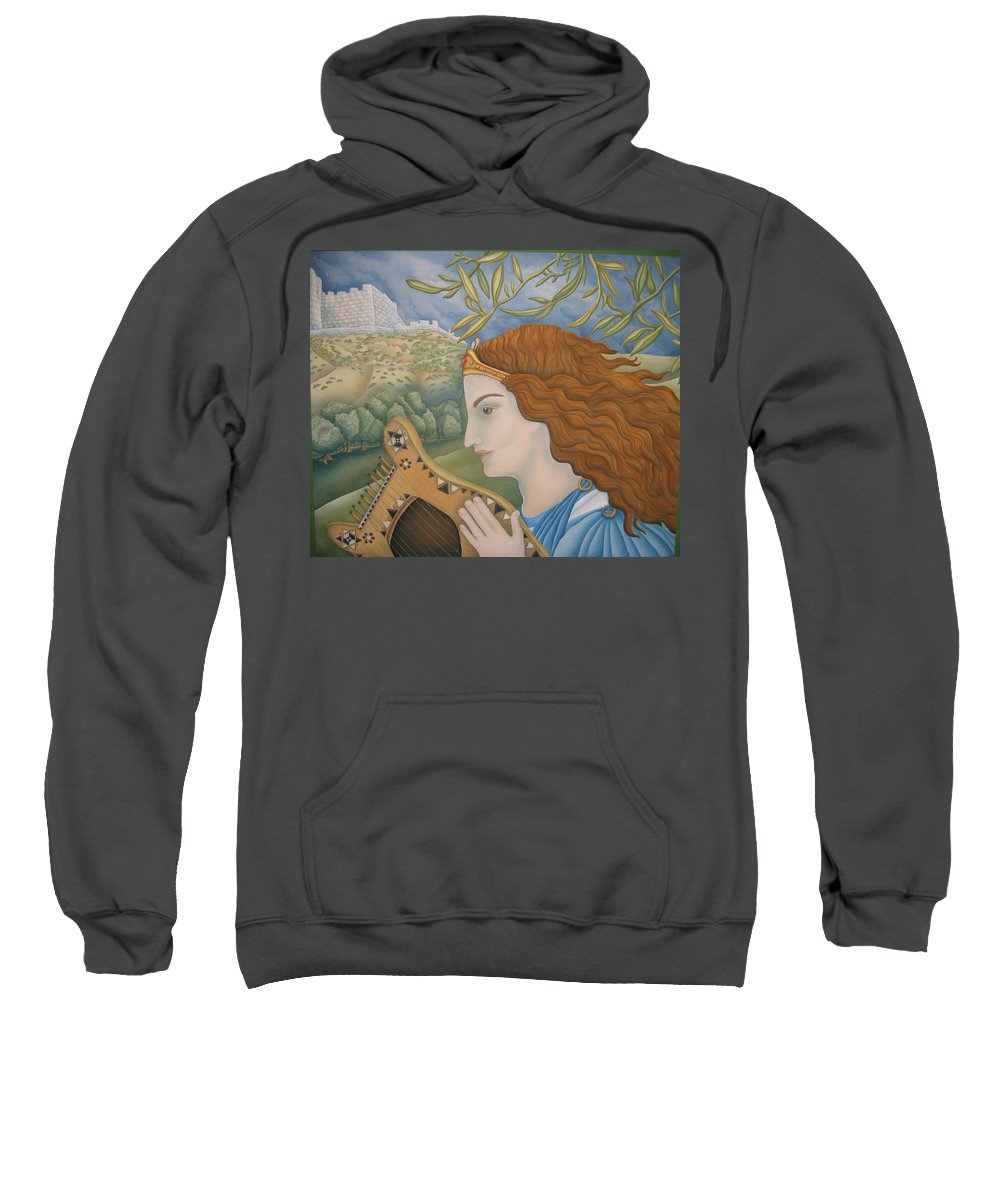 Bible Sweatshirt featuring the painting King David In His Youth by Jeniffer Stapher-Thomas