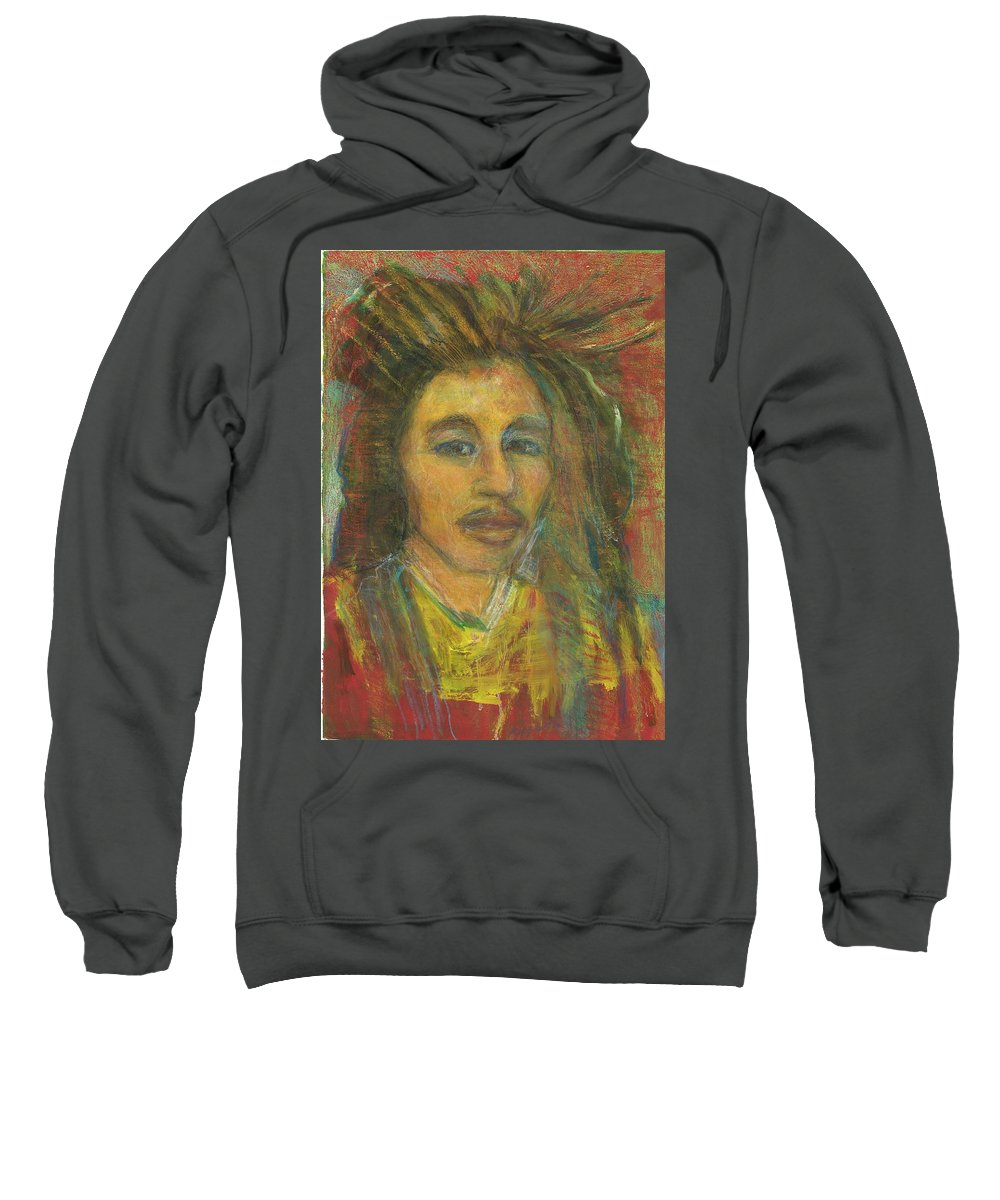 Rasta Sweatshirt featuring the painting King Gong As A Young Man by Kippax Williams