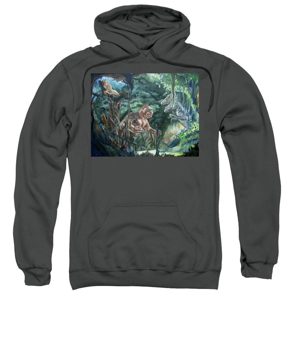 King Kong Sweatshirt featuring the painting King Kong Vs T-rex by Bryan Bustard