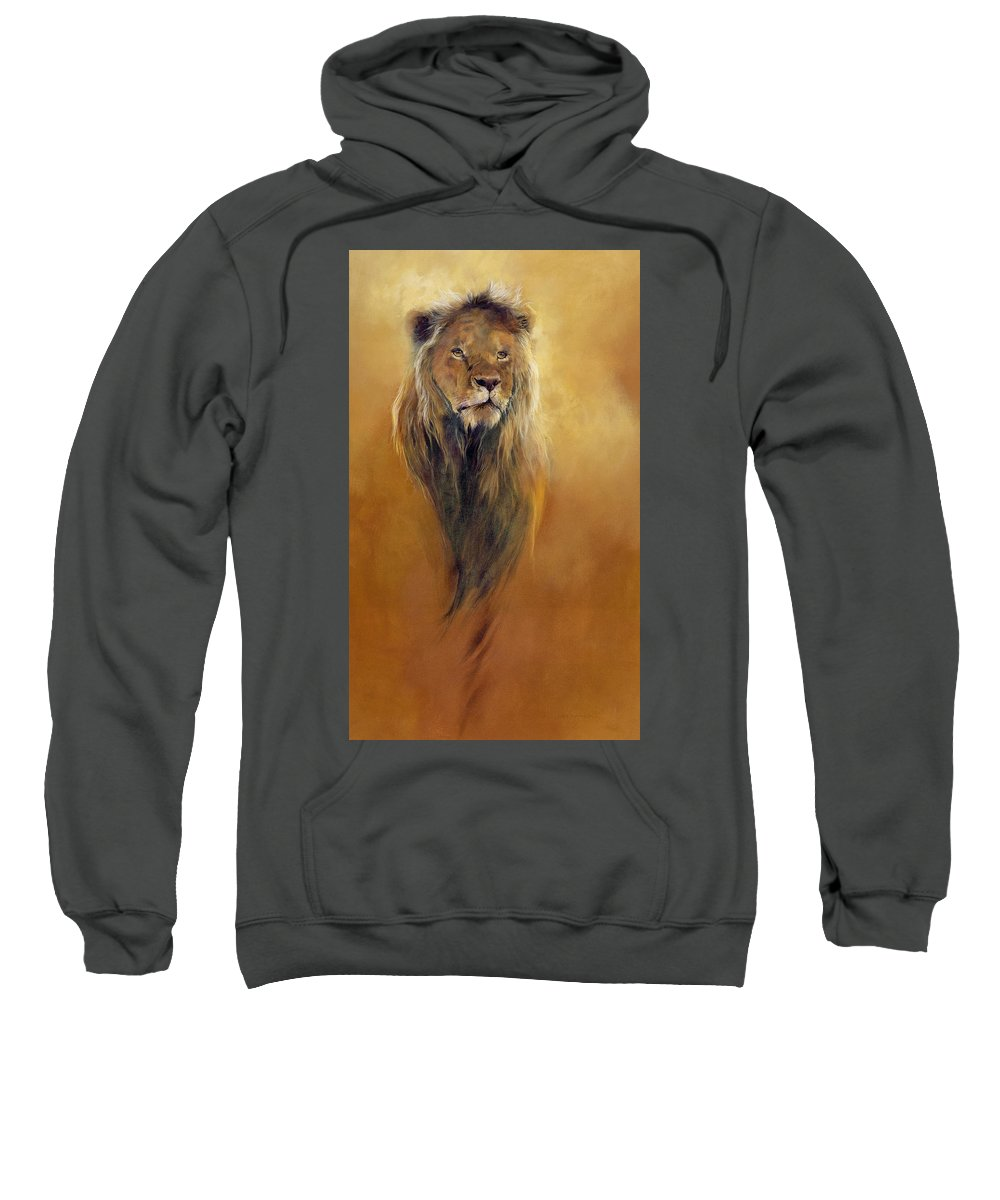 Animal; Furry; Lion; Wild Animal; Predator: King: Leo Sweatshirt featuring the painting King Leo by Odile Kidd