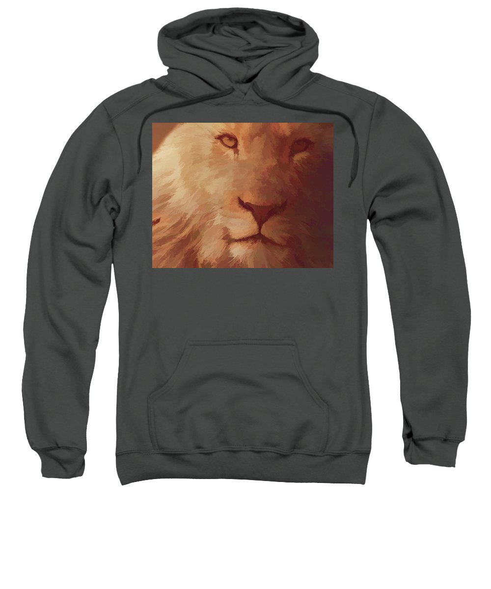 Lion Sweatshirt featuring the digital art King Of The Jungle by Barbara A Lane