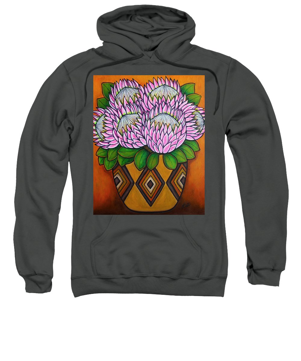 Protea Flower Sweatshirt featuring the painting Kings of the Cape by Lisa Lorenz