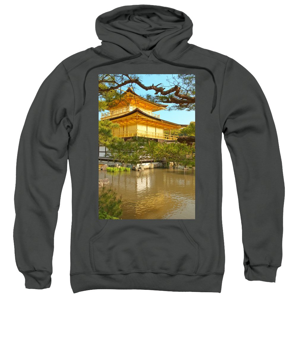 Japan Sweatshirt featuring the photograph Kinkakuji Golden Pavilion Kyoto by Sebastian Musial
