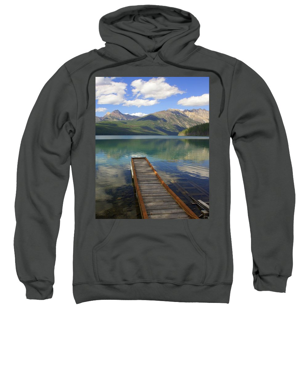 Glacier National Park Sweatshirt featuring the photograph Kintla Lake Dock by Marty Koch