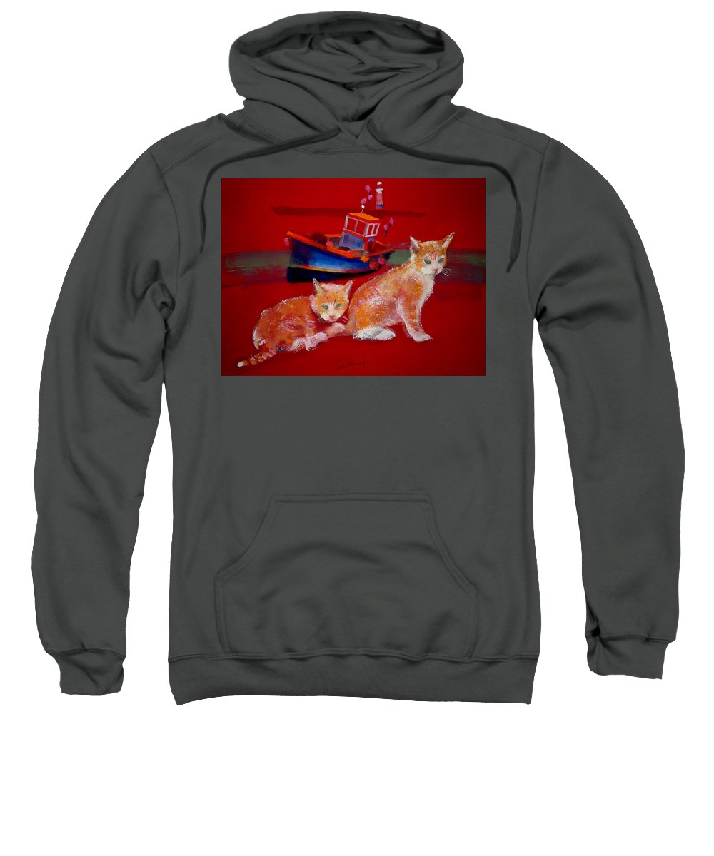 Kittens Sweatshirt featuring the painting Kittens On The Beach by Charles Stuart