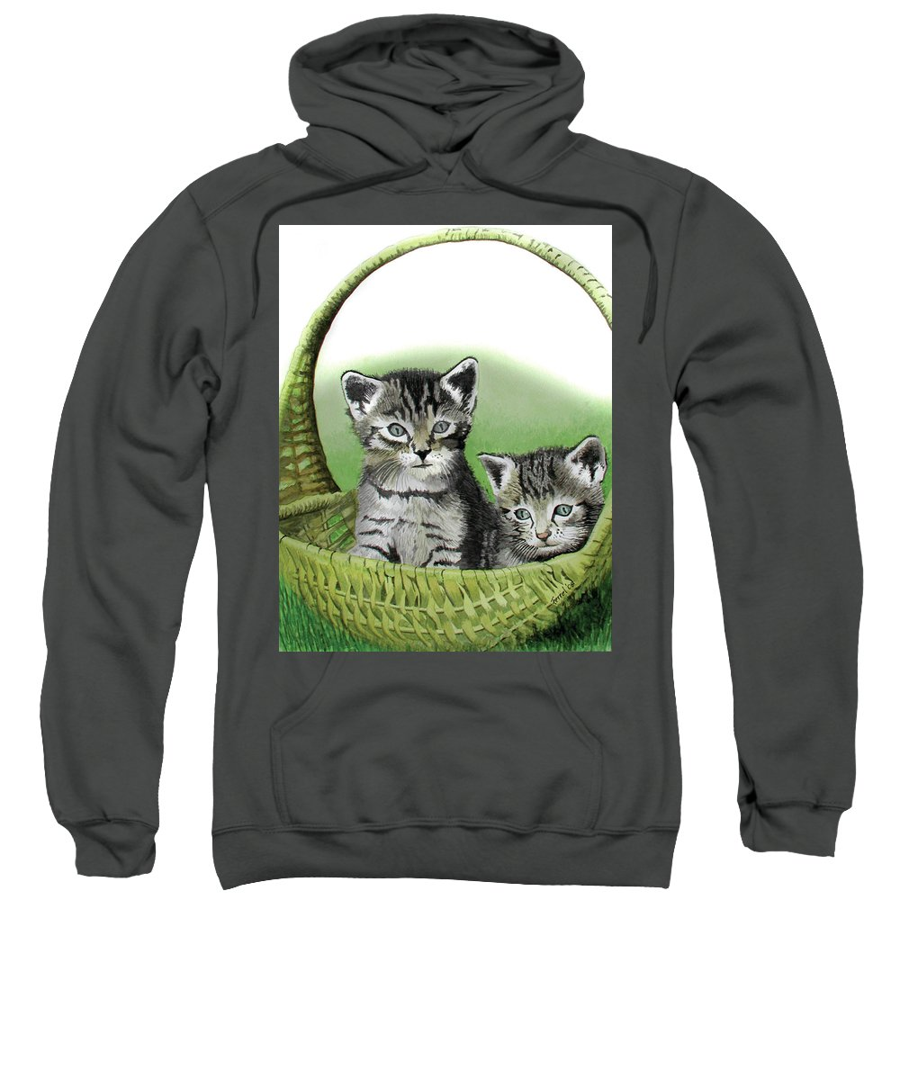 Cat Sweatshirt featuring the painting Kitty Caddy by Ferrel Cordle