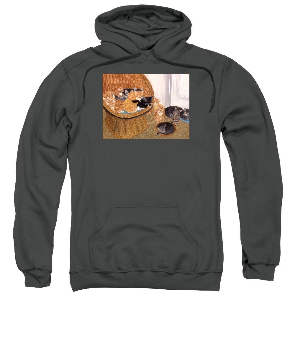 Karen Zuk Rosenblatt Art And Photography Sweatshirt featuring the painting Kitty Litter I by Karen Zuk Rosenblatt