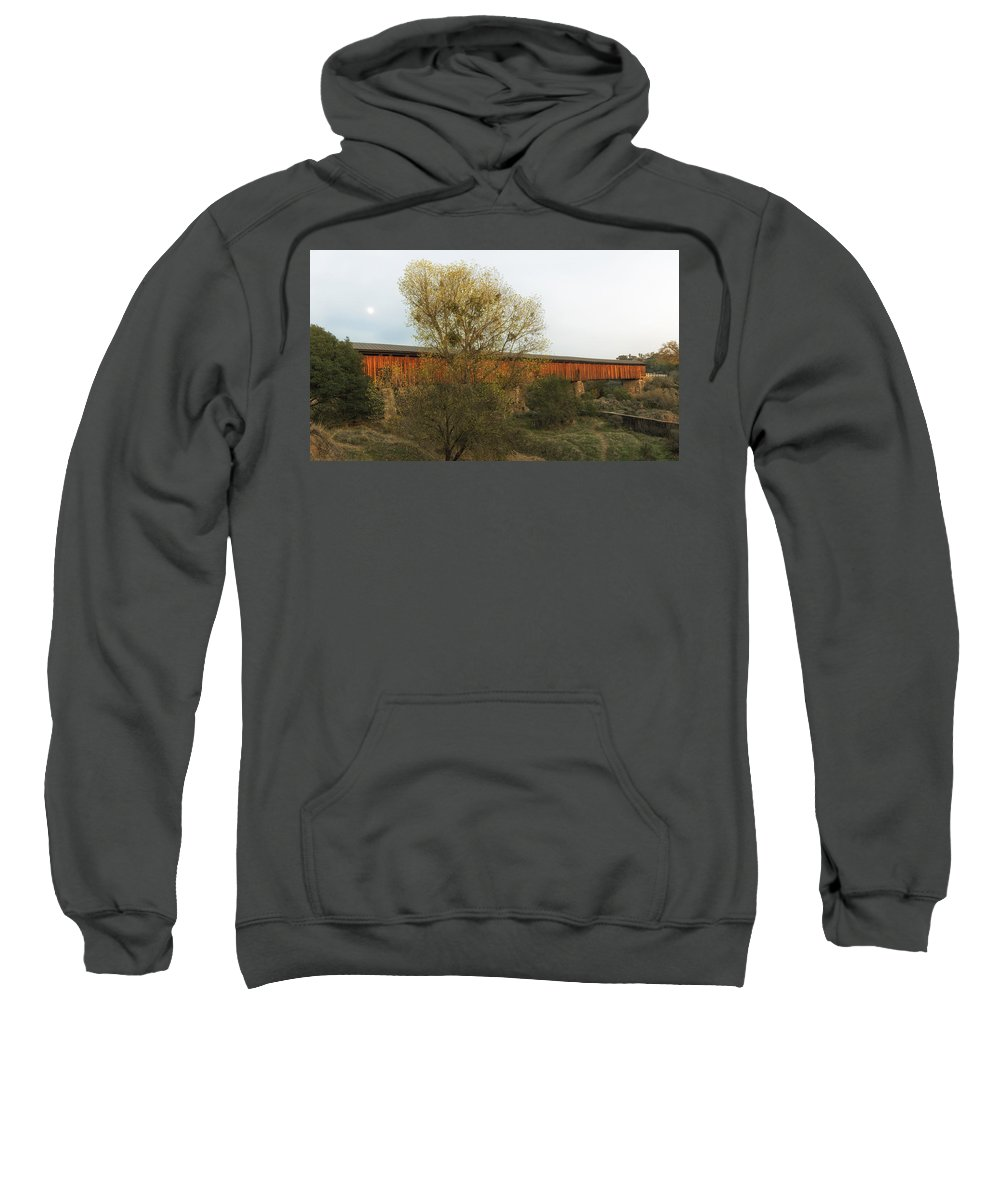 Knights Ferry Bridge Sweatshirt featuring the photograph Knights Ferry Wooden Bridge - California by Mountain Dreams