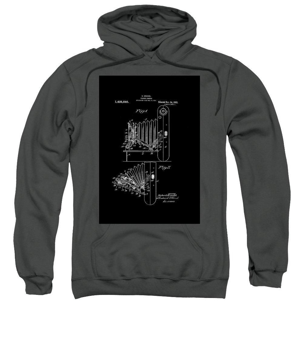 Camera Sweatshirt featuring the digital art Kodak Folding Camera 1922 by Robin Elliott-Hanley