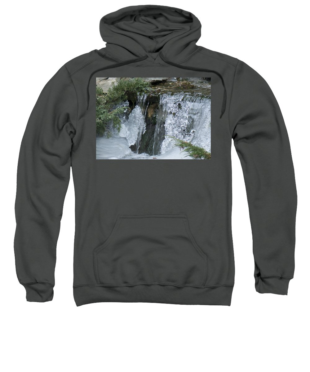 Koi Pond Sweatshirt featuring the photograph Koi Pond Waterfall by Steven Natanson