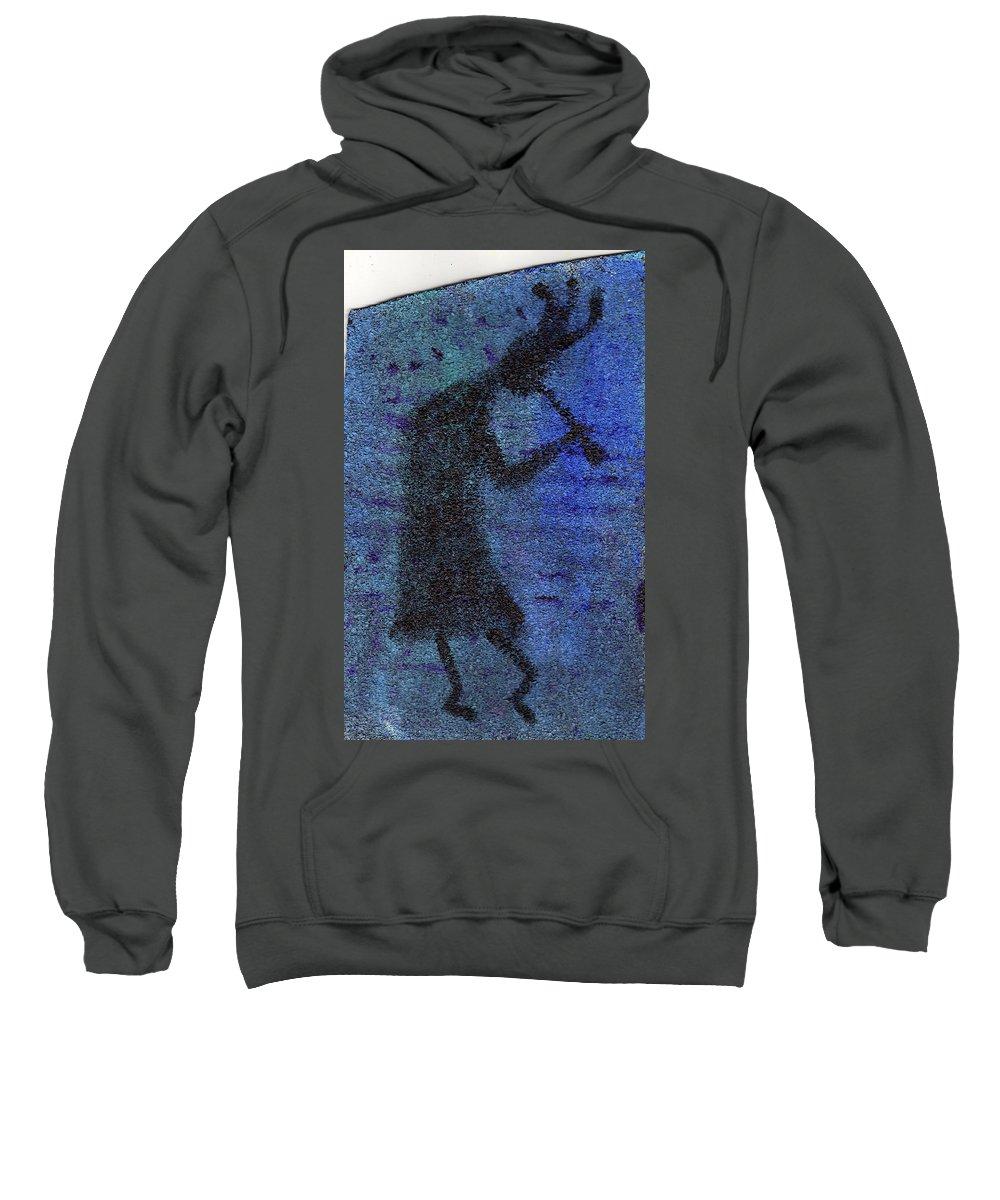 Kokopeli Sweatshirt featuring the painting Kokopeli Blues by Wayne Potrafka