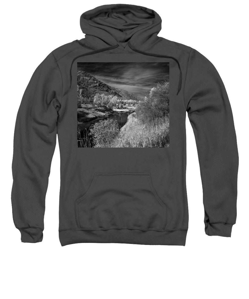 B&w Sweatshirt featuring the photograph Kootenai Wildlife Refuge In Infrared 4 by Lee Santa