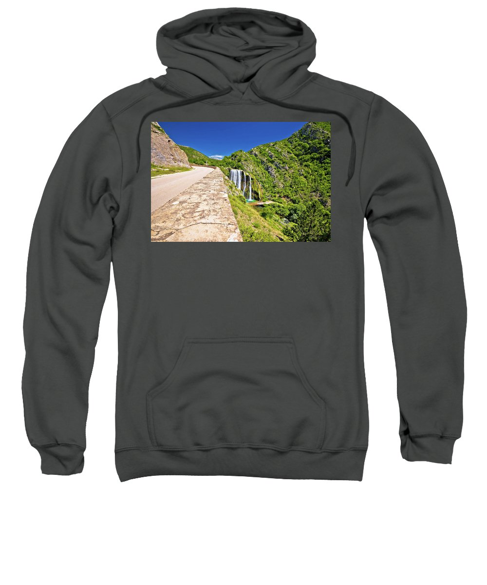 Croatia Sweatshirt featuring the photograph Krcic Waterfall In Knin Scenic View by Brch Photography
