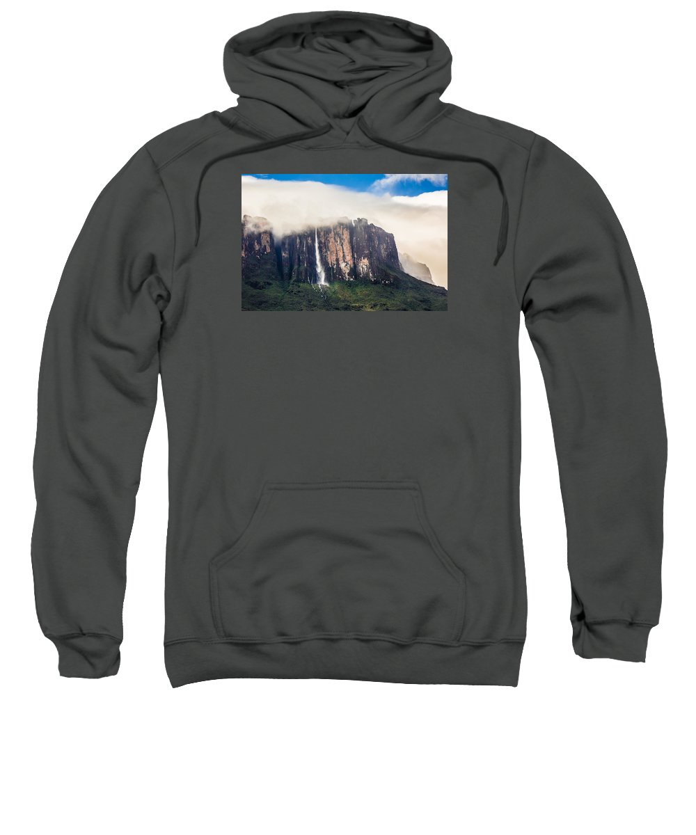 Venezuela Sweatshirt featuring the photograph Kukenan Waterfall by Petr Perepechenko
