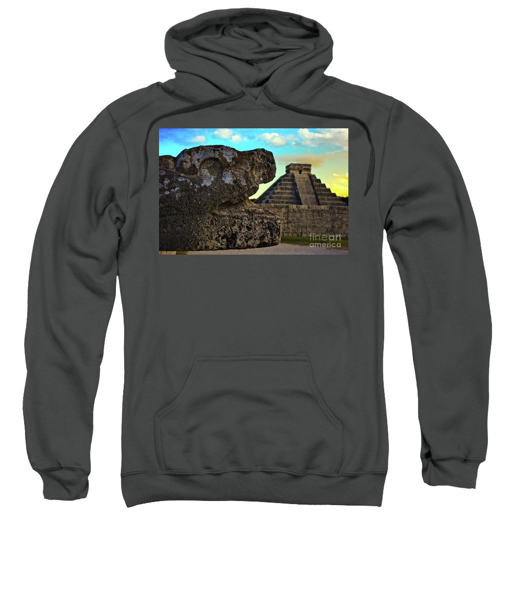 Mexico Sweatshirt featuring the photograph Kukulkan Pyramid At Chichen Itza In The Yucatan Of Mexico by Sam Antonio Photography