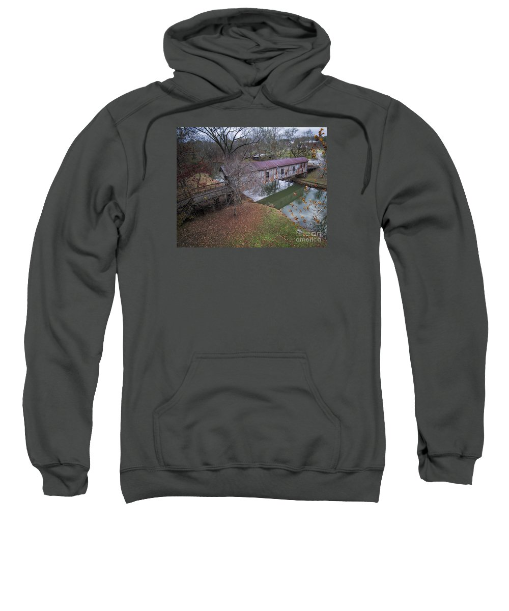 Kymulga Sweatshirt featuring the photograph Kymulga Covered Bridge Aerial 1 by Ken Johnson