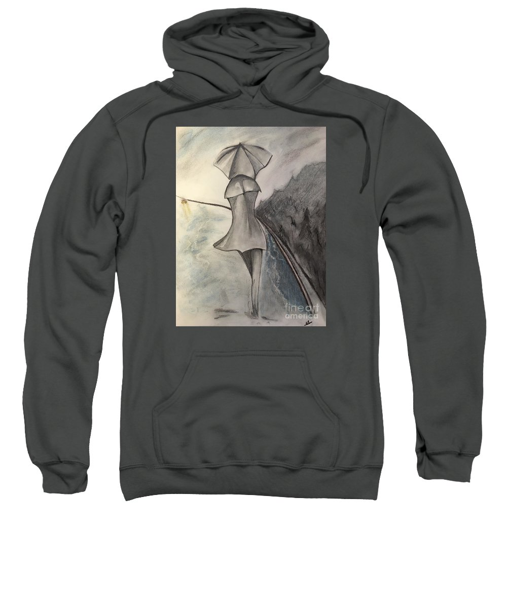 Woman Sweatshirt featuring the drawing La Femme Au Parapluie by Peter Weinberg