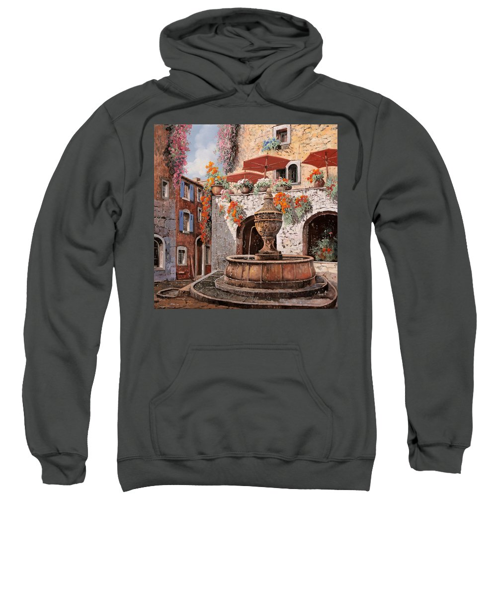 St Paul Sweatshirt featuring the painting la fontana a St Paul de Vence by Guido Borelli