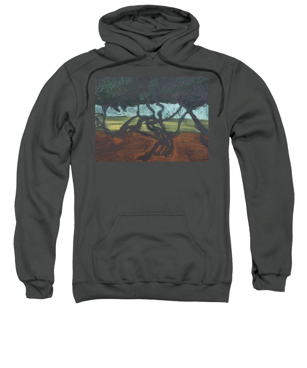 Contemporary Tree Landscape Sweatshirt featuring the mixed media La Jolla II by Leah Tomaino