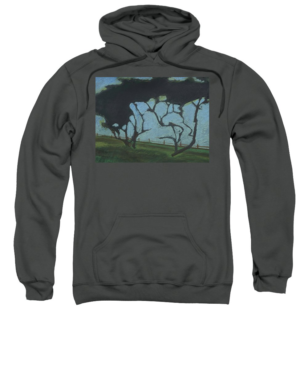 Contemporary Tree Landscape Sweatshirt featuring the mixed media La Jolla IIi by Leah Tomaino