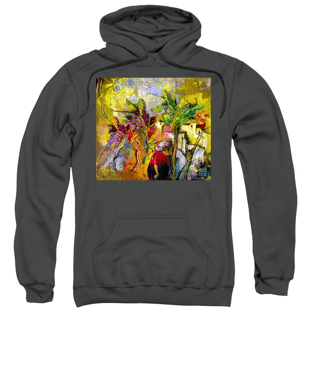Landscape Painting Sweatshirt featuring the painting La Provence 05 by Miki De Goodaboom