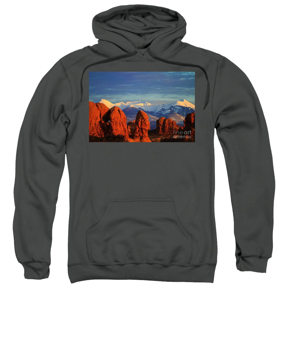 Utah Sweatshirt featuring the photograph La Sal Mountains In Arches Np Utah by Bret Webster