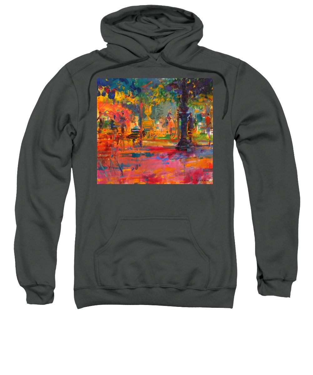 Chairs Sweatshirt featuring the painting La Terrasse Du Jardin by Peter Graham