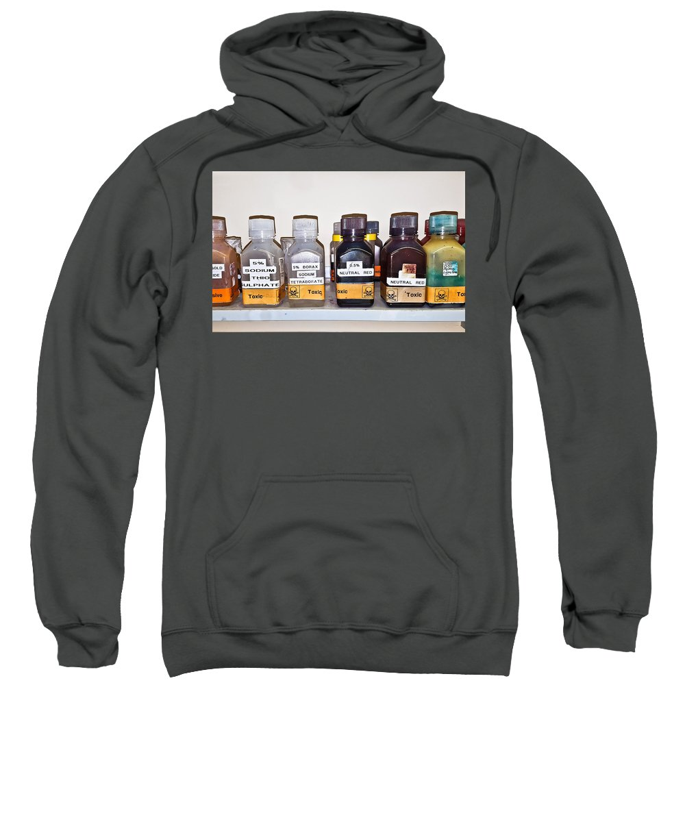 Background Sweatshirt featuring the photograph Laboratory Chemicals by Tom Gowanlock