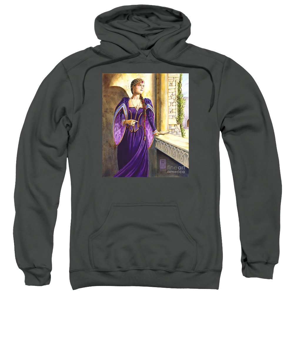 Camelot Sweatshirt featuring the painting Lady Ettard by Melissa A Benson