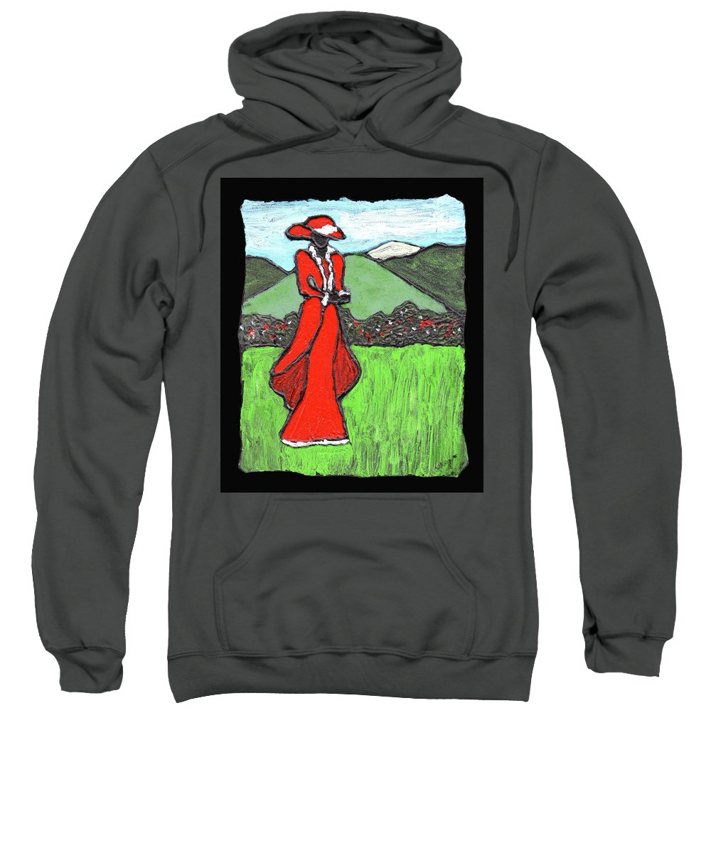 Red Sweatshirt featuring the painting Lady In Red by Wayne Potrafka