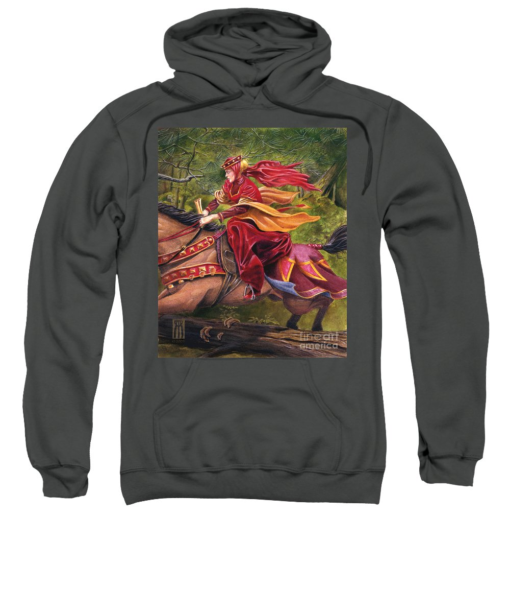 Camelot Sweatshirt featuring the painting Lady Lunete by Melissa A Benson