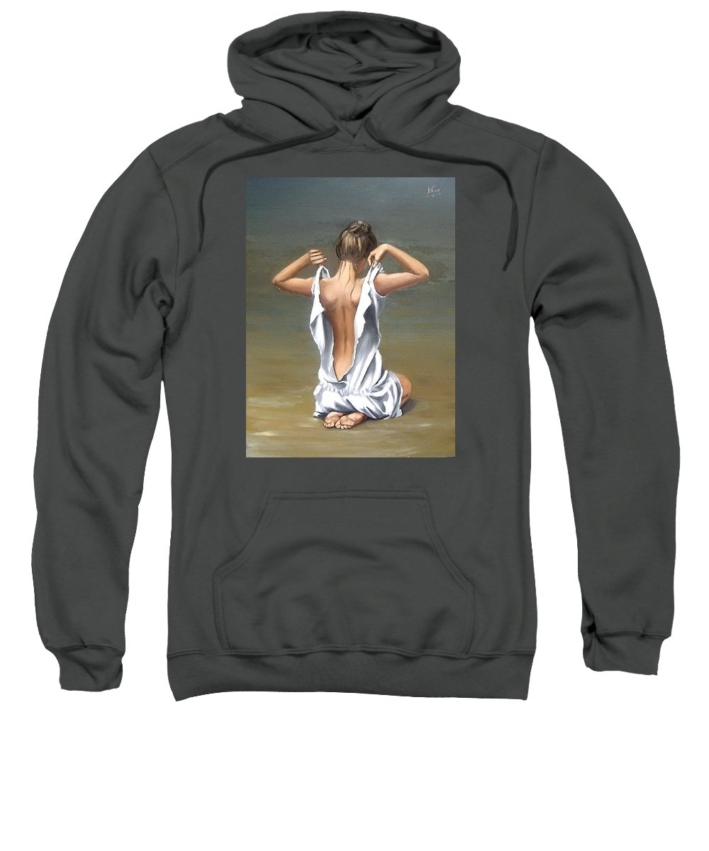 Lady Girl Woman Figurative Figure Nude Portrait Fine Art Female Sweatshirt featuring the painting Lady by Natalia Tejera