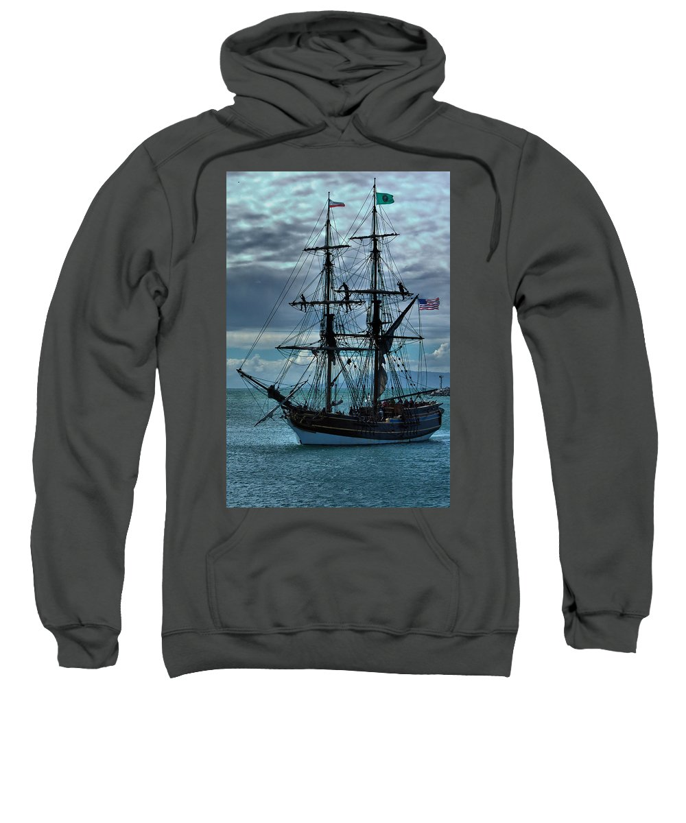 Tall Ship Sweatshirt featuring the photograph Lady Washington-3 by Michael Gordon